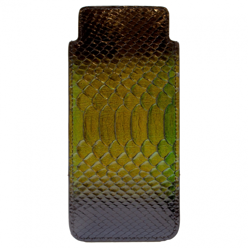 glass case python leather green