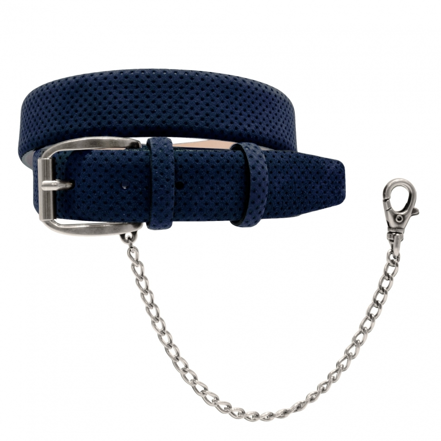 suede leather belt blue drilled