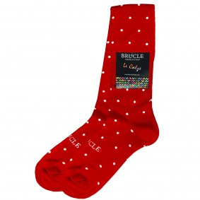 Socks men cotton dots red