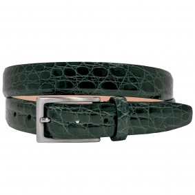 Crocodile leather belt green