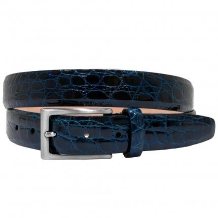 Cintura in fianco di coccodrillo blu