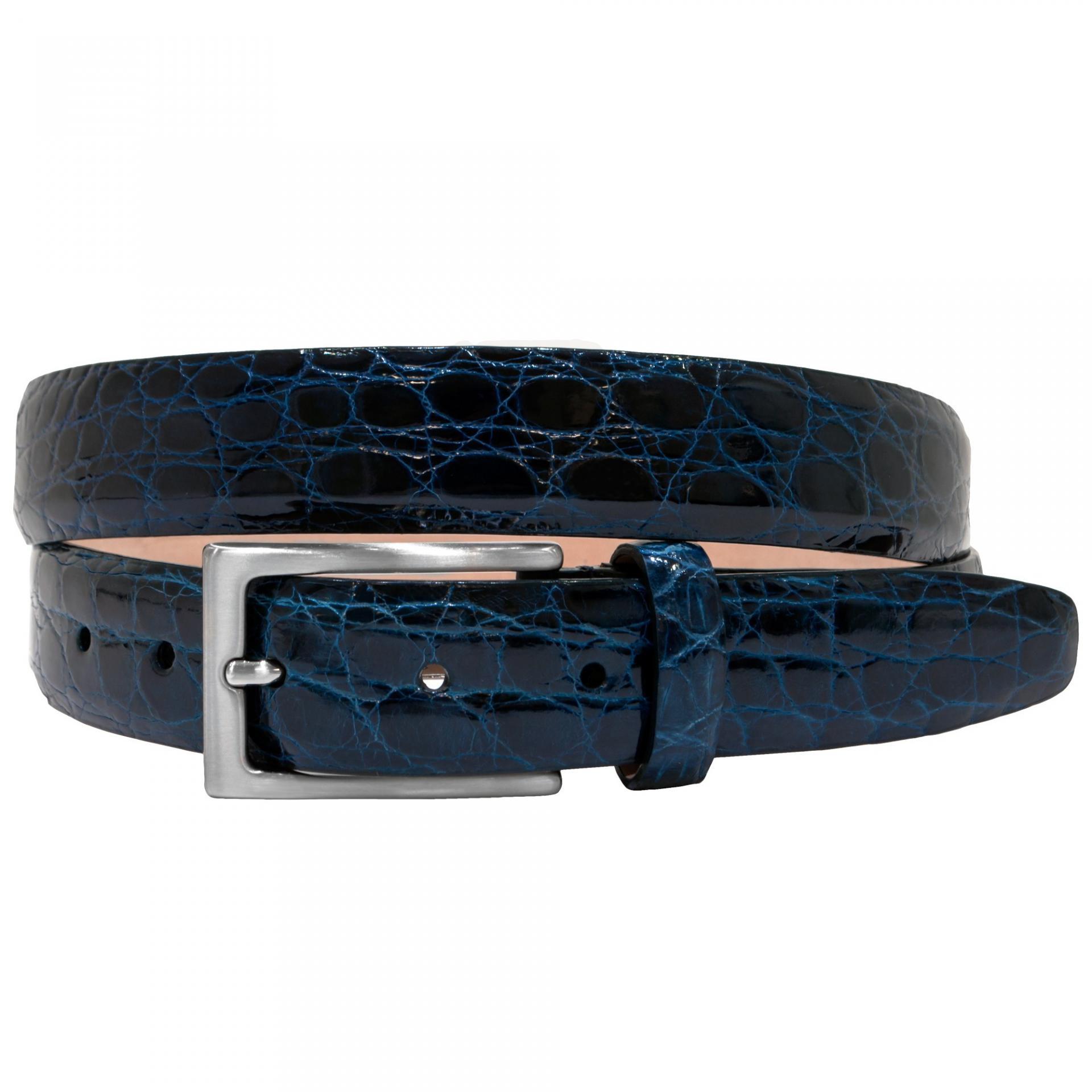 Cintura fianco di coccodrillo blu