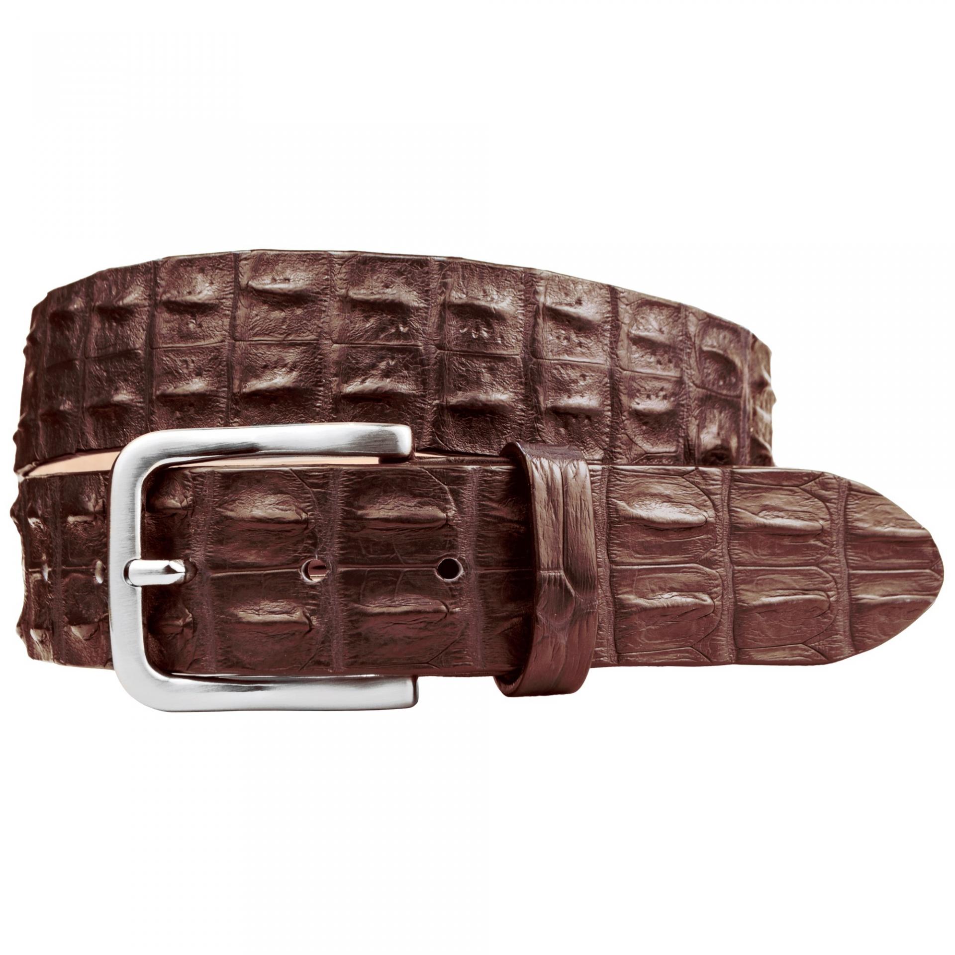ceinture cuir crocodile brun chocolat