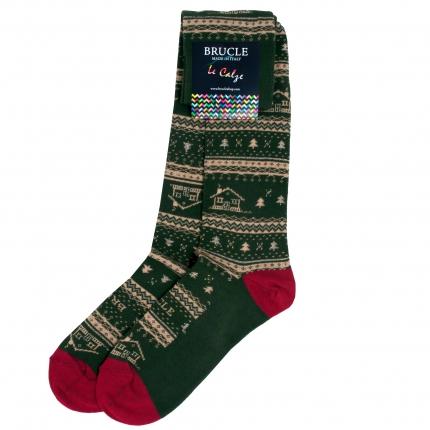 Chaussettes dépareilleés vertes homme Noël motif chalet
