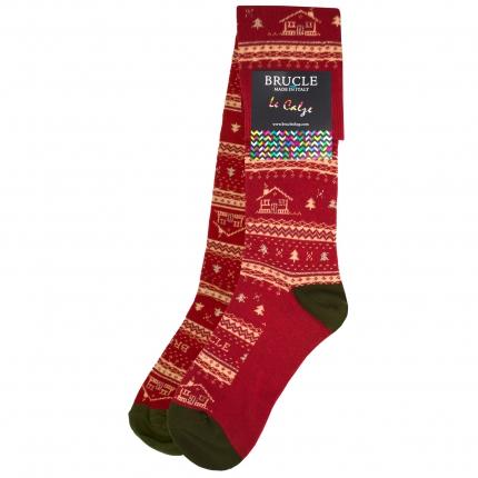 Calze uomo spaiate natalizie rosse e oro con casette