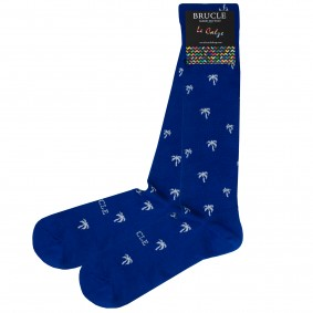 Blue men's socks with palm trees