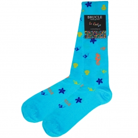 Socks mens blue Seahorse shells fish