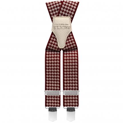 Braces suspenders unisex X forme pied de poule red