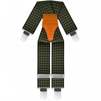 Braces suspenders unisex X forme pied de poule green