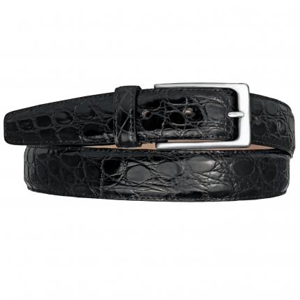 Cintura cucita in fianco di coccodrillo nera