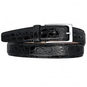 Crocodile leather belt black