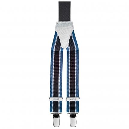 Bretella stretta rigata jacquard azzurra