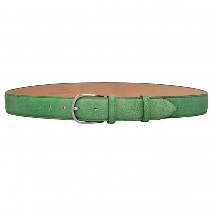 Cintura delavè in vera pelle verde