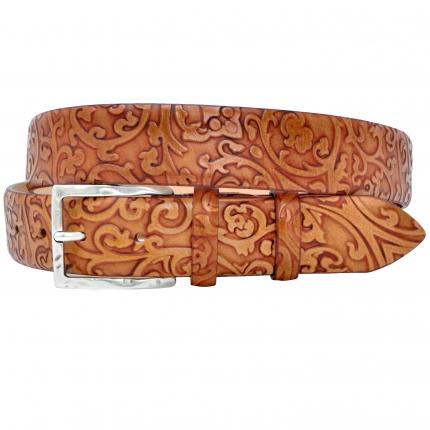 Cintura in pelle tamponata motivo floreale in rilievo color cuoio