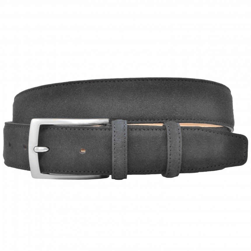 Grey suede leather belt
