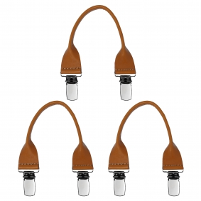 Leather buttonhole braces with clips, 3 pieces, brown tan