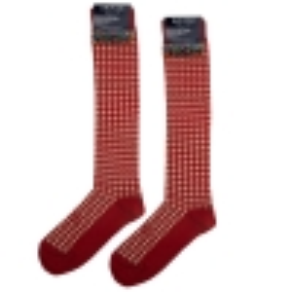 Socks men pied de poule red beige