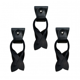 Replacement for Y-shape suspenders- convertible ends + ears strips for button end, blue navy