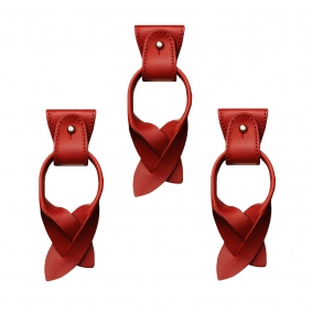 Replacement for Y-shape suspenders- convertible ends + ears strips for button end, red