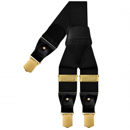 Bretelle raso elastico nere con clip oro