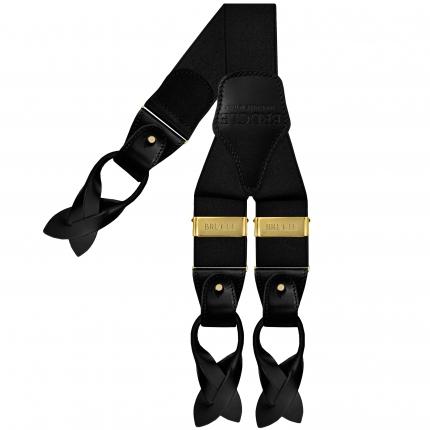 Bretelles larges noir poli avec clips or