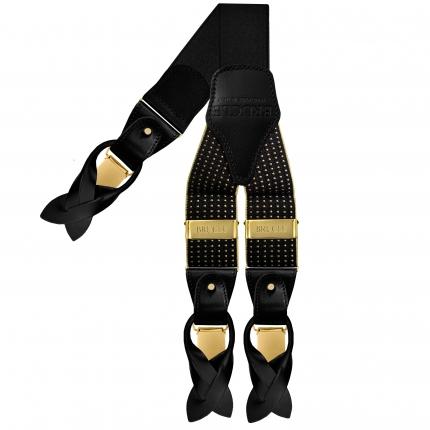 Bretelle eleganti nere puntaspillo pois oro bottoni o clip oro