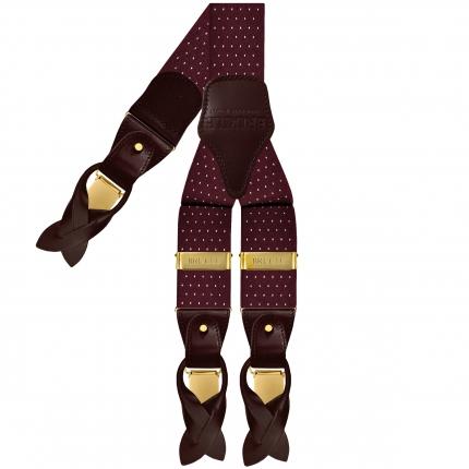 Bretelle elastiche pois bordeaux con clip oro doppio uso per bottoni