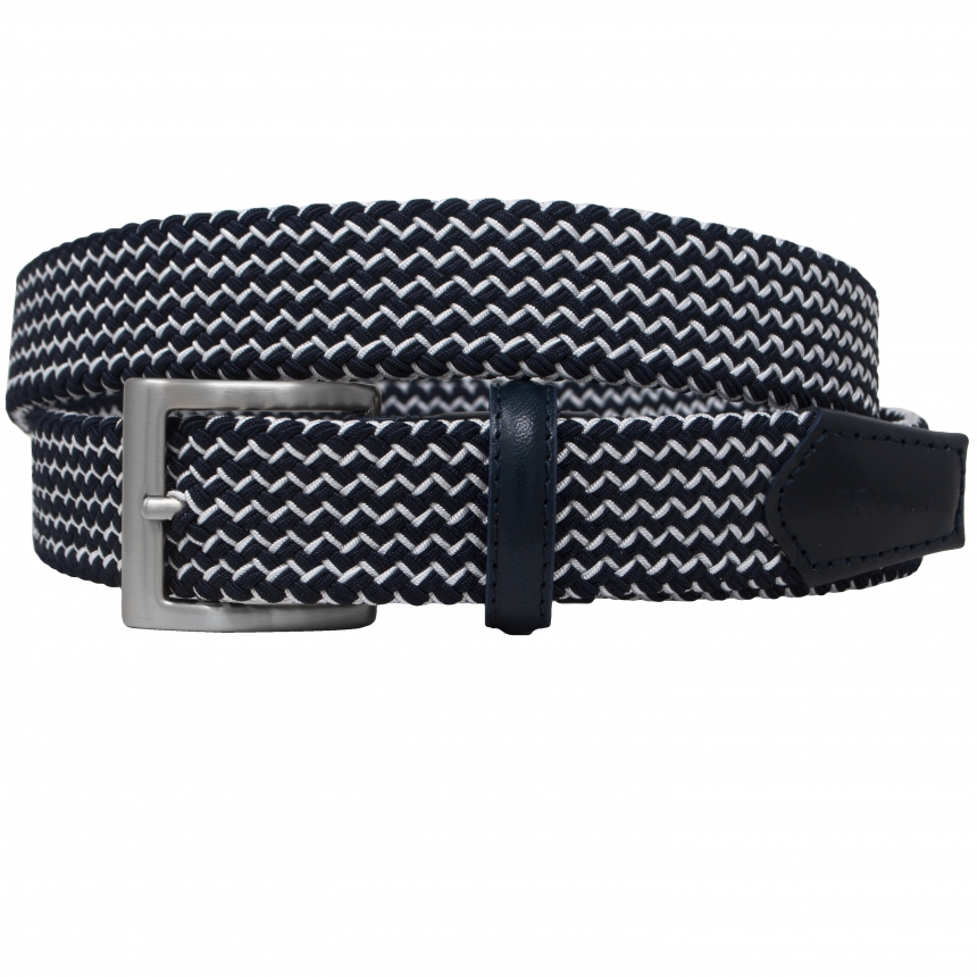 Brucle tubular elastic braid belt blue and white