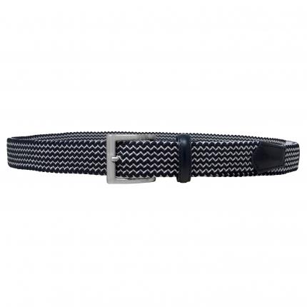 Cintura elastica tubolare intrecciato bianca e blu