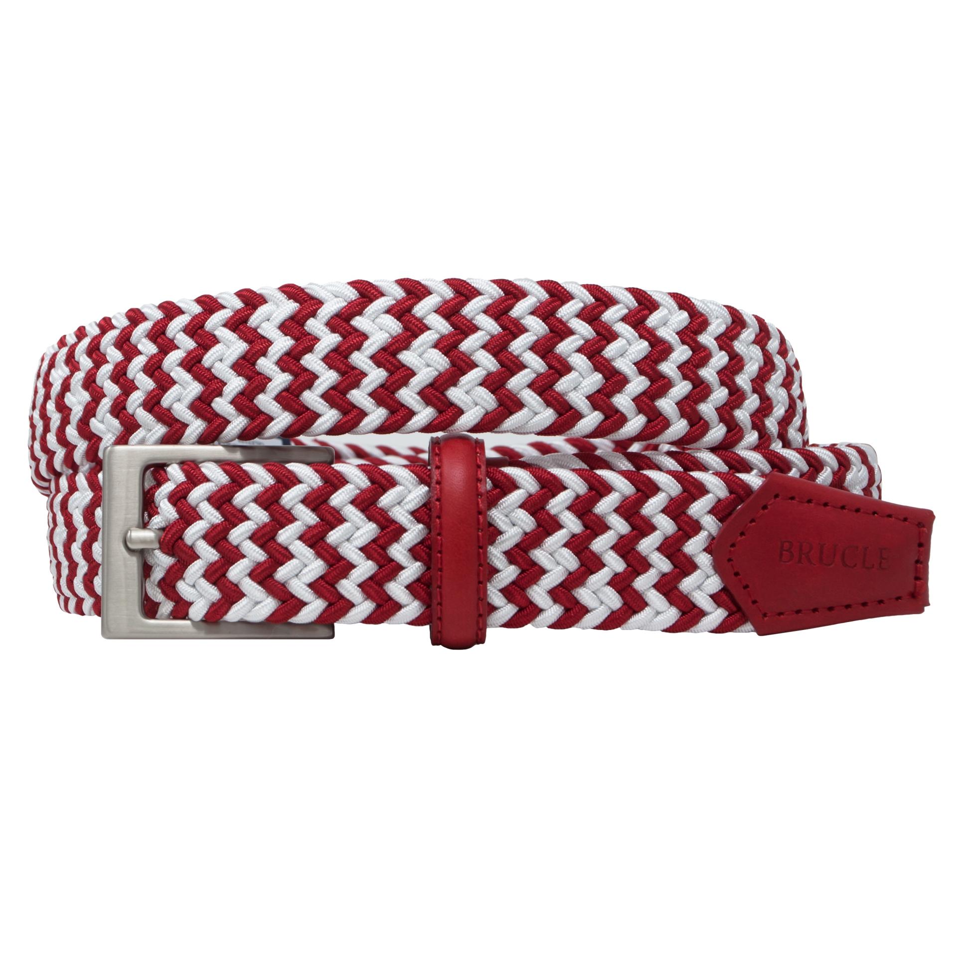 Cintura intrecciata elastica bicolore bianca e rossa