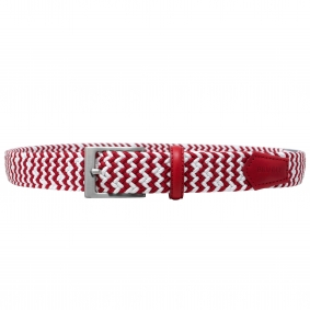 Bicolor braided elastic stretch belt white red