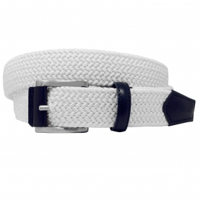 Braided Elastic Stretch Belt white