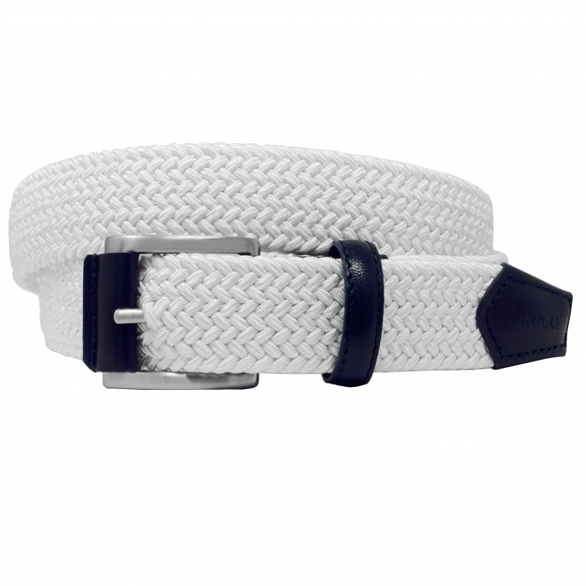 Braided Elastic Stretch Belt white