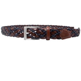 Braided cotton and leather belt, dark brown and blue