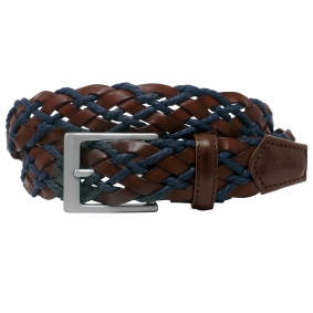 Braided and Leather Belt red and tan