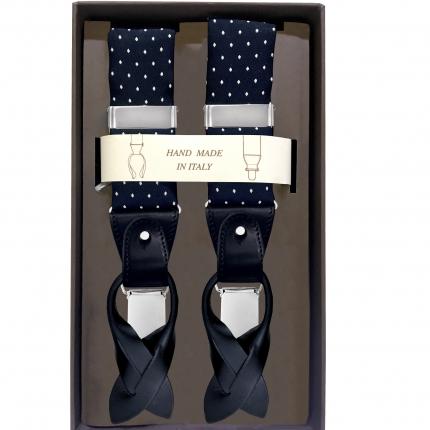 Bretelles larges en tissu à pois bleu navy