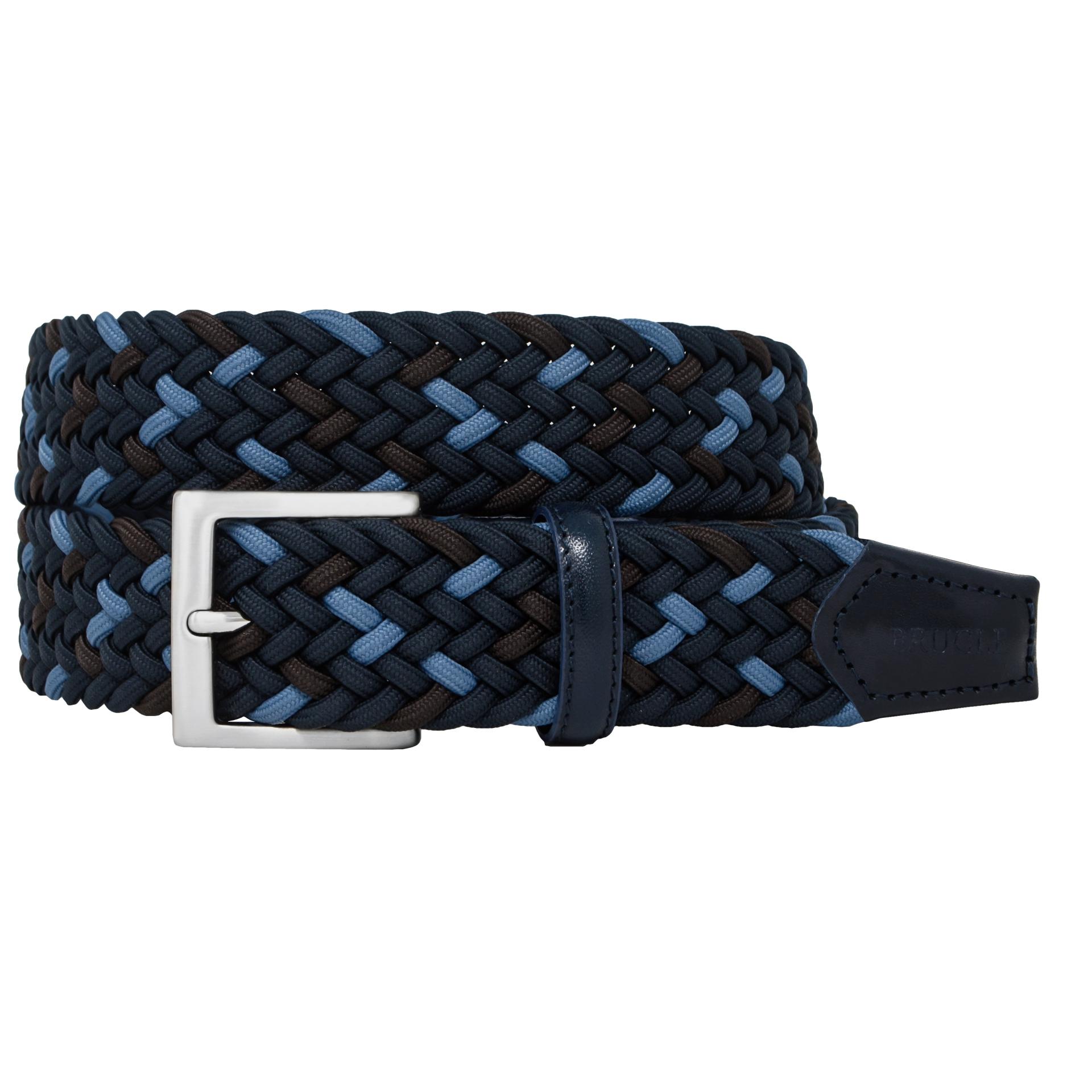 Braided Elastic Belt tricolor blue brown sky