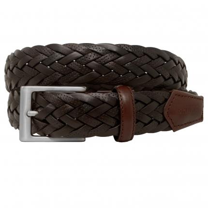 Cintura intrecciata cuoio marrone testa moro