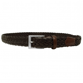 braided leather belt dark brown