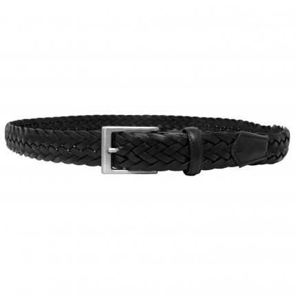 Cintura intrecciata cuoio nera