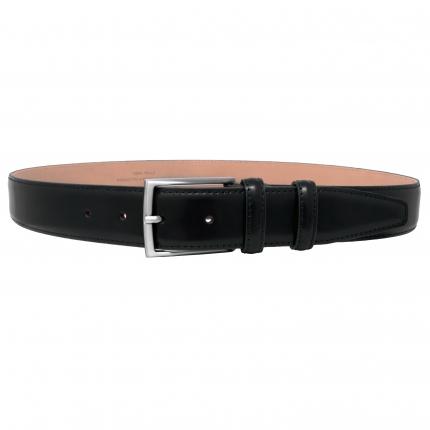 Classic men's leather belt black polished