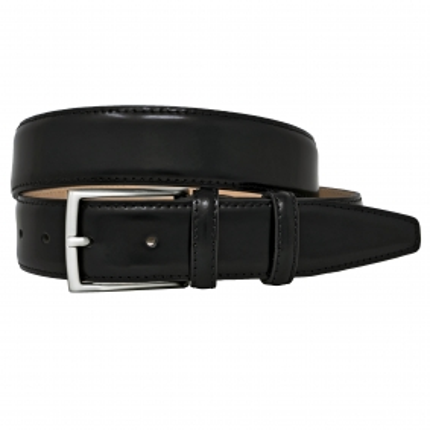 Cintura nera classica pelle spazzolata
