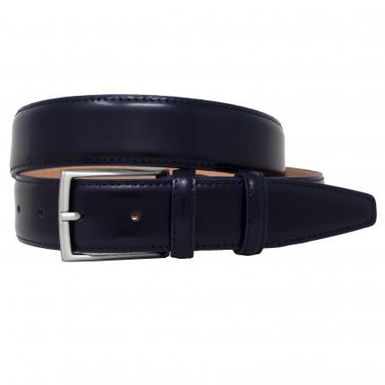 Cintura blu classica pelle spazzolata