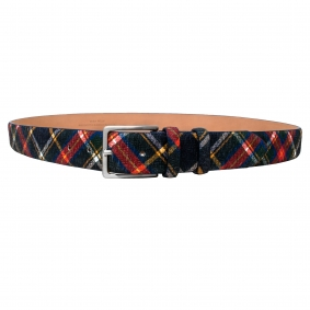 Genuine leather belt, blue tartan print