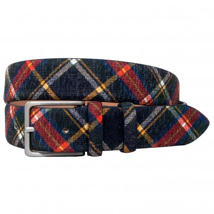 Cintura in pelle stampa tartan blu rossa e gialla