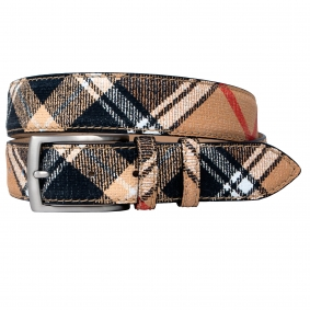 Men's check tartan pattern beige leather belt