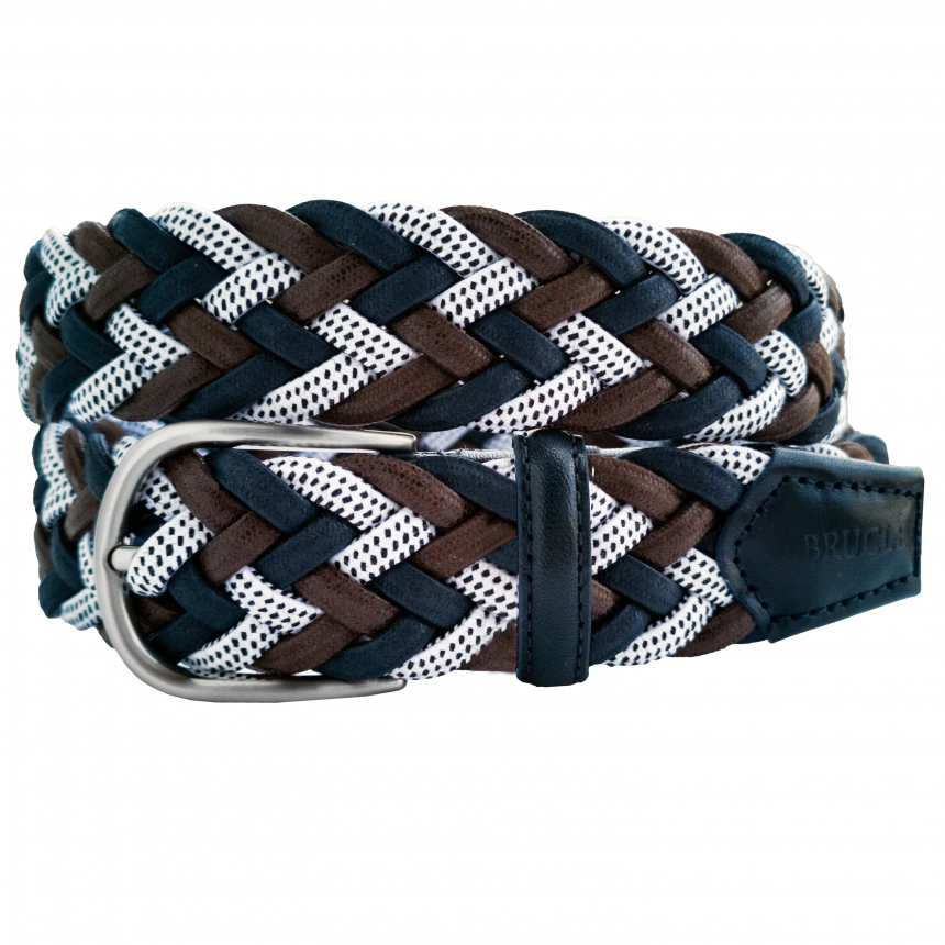 elastic belt for men braided multicolor made in italy
