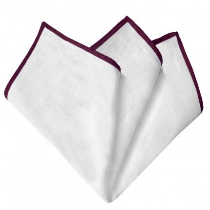 Pochette uomo in lino bianco bordo rosso bordeaux