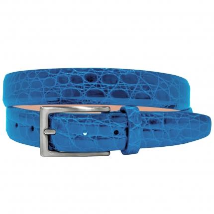 Cintura in fianco di coccodrillo azzurro
