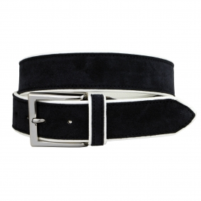 Belt leather suede blue